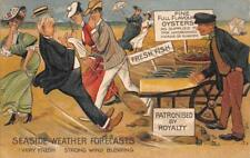 SEASIDE WEATHER FORECAST OYSTERS FISH ROYALTY OKLAHOMA COMIC POSTCARD 1909