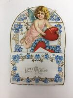 Victorian Die Cut Stand Up Valentine Card Cupid Heart Arrows Germany