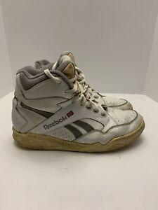 Vintage Reebok BB4600 Athletic Shoes Hi Tops White/Grey Men's Size 9 1990s