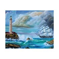 Diamond Embroidery 5D Diy Diamond Painting Scenic Sailing Boat Lighthouse B D4Z2
