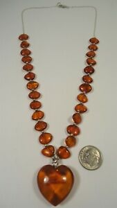 Lee Sands Wacky Friday Amber Puffed Heart w Pebbles Necklace Sterling Silver
