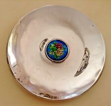 157 GR.STERLING SILVER CENTERPIECE PLATE WITH ENAMEL PICTURE ROSE BOUQUET