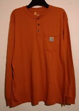 VINTAGE CARHARTT LONG SLEEVE DARK ORANGE GRANDAD STYLE BUTTON NECK T SHIRT 2XL