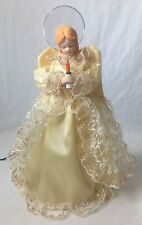 """Cream Colored Angel Christmas Tree Topper Needs Light Bulb As Is 12.5"""""""