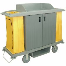 More details for jantex housekeeping trolley doors in grey / yellow with non marking wheels