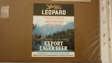 OLD NZ NEW ZEALAND BEER LABEL, LEOPARD BREWERY HASTINGS, TRAVELODGE ROTORUA