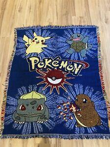 "Vintage Northwest Company Pokemon Throw Blanket 90's Nintendo 41"" X 52"""