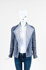 Vince Black Blue & White Cotton Blend Knit Draped Jacket SZ XS