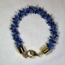 Designer Kumihimo Bracelet - Blue with Gold End Caps
