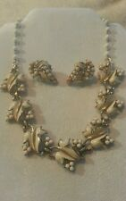 Coro silver tone with white leaves enamel necklace and earring set