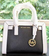 NWT Michael Kors Signature PVC Dillon Top Zip Satchel Handbag Black/White