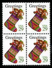 Christmas Stocking - Scott #2872 Block of 4 stamps MNH