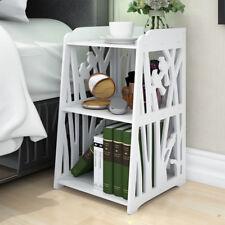 White Bedside Table Cabinet Cupboard Nightstand Storage Organizer Shelf Rack