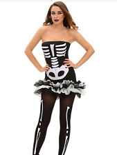 Sexy Skeleton Halloween Costume Dress BNWT fits 8 10