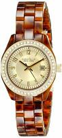 Caravelle New York Women's 44M104 Quartz Crystal Gold Dial Tortoise 28mm Watch