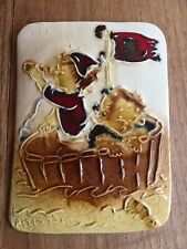 Vintage Ceramic Wall Hanging Plaque Decor Whimsical Children in Raft - Israel