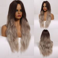 Women Wigs Water Wave Synthetic Heat Resistant Middle Part Cosplay Ombre Blonde