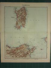 1907 DATED MAP ~ SARDINIA ITALY ~ NORTH AFRICA TUNISIA PANTELLERIA