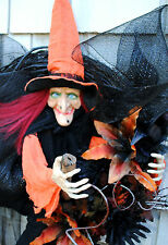 Halloween Wreath 3D Flying Witch on Broom Black Orange Handmade Wreath Deco Mesh