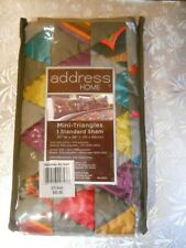"Nwt Address Home Mini-Triangles Pillow Sham 20"" W x 26"" L $60 Multi-Colored"