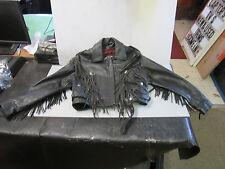 Black Fringed Leather Ladies motorcycle Jacket Sz large by Jamin Leather