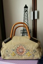 Ladies Handbag Modapelle Canvas, hand beaded Glass beads with bamboo handles NEW