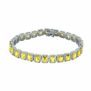 New Icy White Gold Finish Citrine Solitaire Simulated Diamond 8.5'' Bracelet