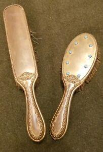 Antique Persian Turquoise Stunning & Hairbrush -Gibson Girl Long Hair Gold gilt
