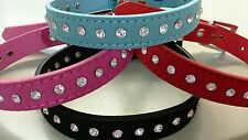 Diamonte Collar with Faux Suede Leather for a Diva Puppy Dog or Cat / Kitten