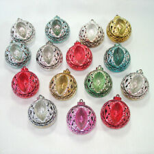 12 Bradford Plastic Filigree Indent 1950s Christmas Ornaments