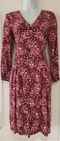 Womens BODEN Burgundy Pink Floral V Neck Loose Fit Dress With Pockets 8.