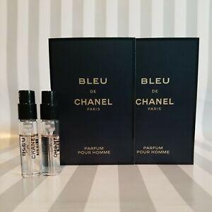 2 Chanel Bleu eau de PARFUM Pour Homme Sample Spray 1.5ml / 0.05oz each