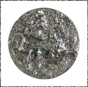 Small Antique Black Glass Zodiac Button w/ Leo the Lion, Silver Luster
