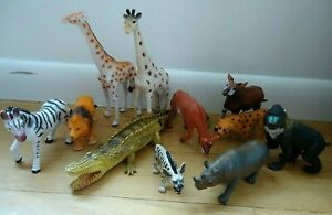 Lot of 11 African Wildlife Zoo Animals educational Toy figurine Pretend Play
