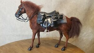 "1:6 brown HORSE w/German saddle, bags & bedroll WWII WW2 12"" figure Dragon DiD"