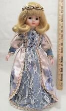 Princess Porcelain Doll Ivory Blue Lace Satin Gown Aurora Borealis Crown Blonde