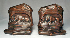Lion of Lucerne MINT Antique Gray Metal Bookends by Jennings Brothers circa 1930