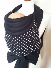 MEI TAI BABY CARRIER / SLING / POLKA DOTS WHITE&BLACK