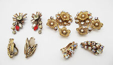 ANTIQUE CLEAR A/B ORANGE YELLOW CRYSTAL MULTI  SHELL GOLD CLIP EARRINGS 4 PAIR