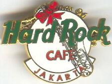 Hard Rock Cafe JAKARTA 1996 Christmas PIN White Logo Sax XMAS HRC Catalog #3804