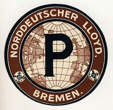 """NDL NORDDEUTSCHER LLOYD Bremen """"P"""" * Old Luggage Label Kofferaufkleber"""