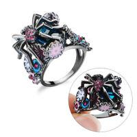 der Hochzeit Ringe der Spinne 925 Silber überzogen Blume Crystal Sapphir