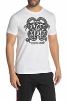 Roberto Cavalli Snake Front Graphic Short Sleeve T-Shirt WHITE FST970A02700053