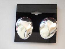 Vtg Italy 925 Sterling Silver Handmade Hollow Modernist Clip On Earrings
