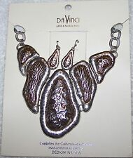 CLASSIC NECKLACE CHAIN EARRINGS ECLECTIC PENDANT SILVER TONE DA VINCI SIG VL-OS