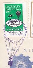 POLAND 1967.VI.24 Ballon POZNAN, Mail Cat.42a Start POZNAN - OBORNIKI landing