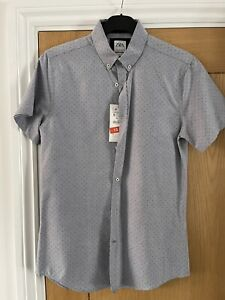 NEW Zara Mens White Blue Dotted Slim Fit Short Sleeve Shirt Small