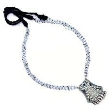 Indian Ethnic Necklace Blue Gemstone Beaded Silver Antique Traditional Jewelry
