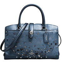 Coach Mercer 30 In Metallic Leather with Star Rivets Metallic Blue