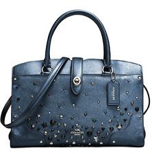 COACH Mercer Satchel 30 In Metallic Leather with Star Rivets Metallic Blue